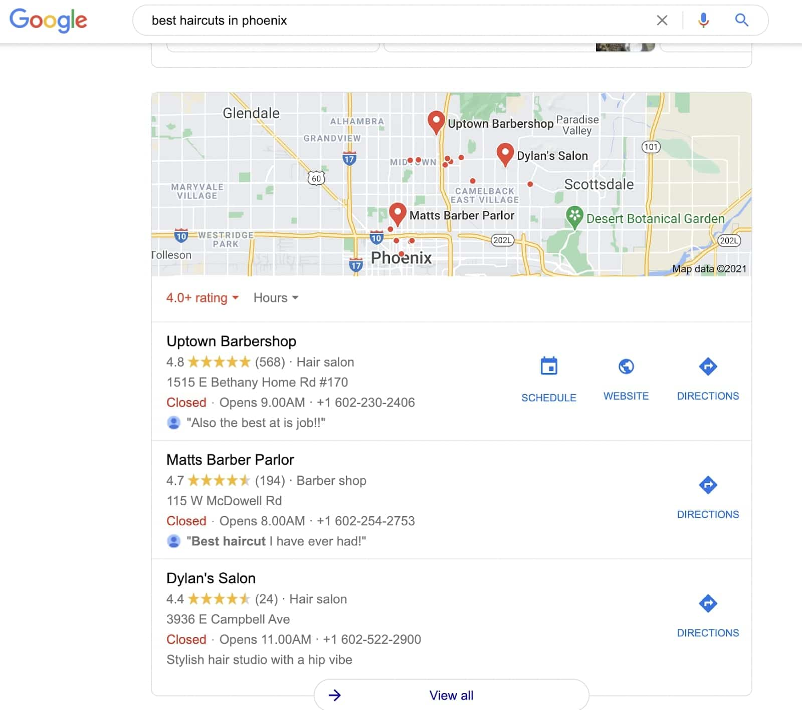 Results from google query 'best haircuts in phoenix'