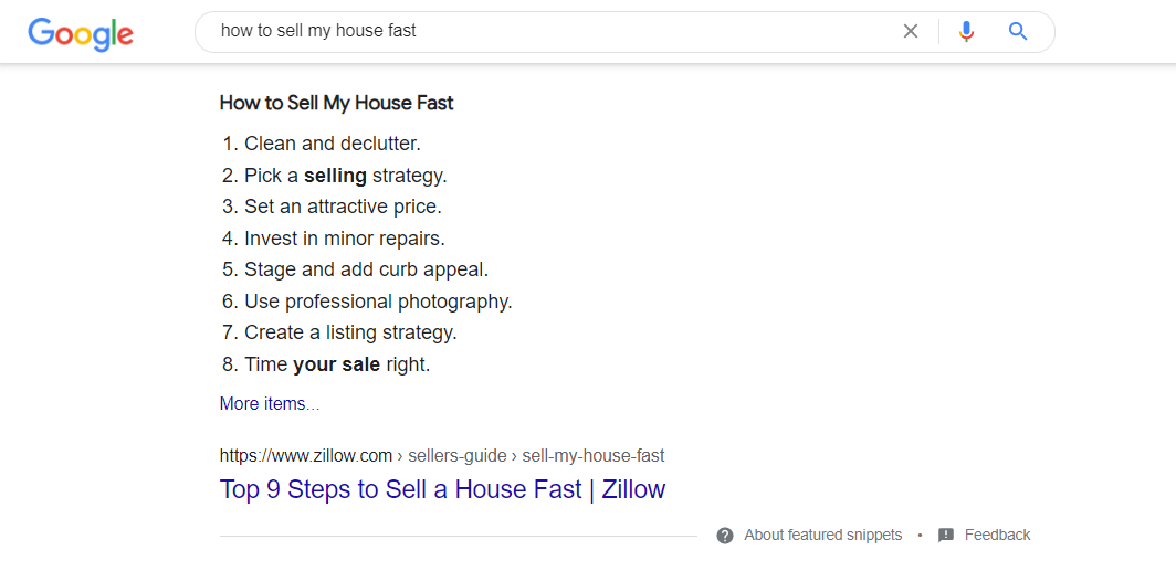 Serp example of the keyword ' how to sell my house fast'